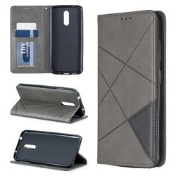 Prismatic Slim Magnetic Sucking Stitching Wallet Flip Cover for Nokia 3.2 - Gray