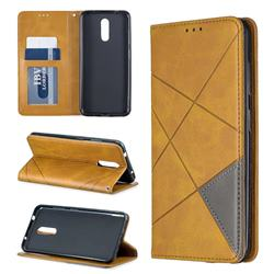 Prismatic Slim Magnetic Sucking Stitching Wallet Flip Cover for Nokia 3.2 - Yellow