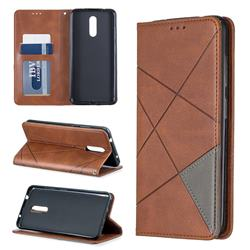 Prismatic Slim Magnetic Sucking Stitching Wallet Flip Cover for Nokia 3.2 - Brown