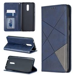 Prismatic Slim Magnetic Sucking Stitching Wallet Flip Cover for Nokia 3.2 - Blue