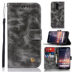 Luxury Retro Leather Wallet Case for Nokia 3.2 - Gray