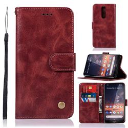 Luxury Retro Leather Wallet Case for Nokia 3.2 - Wine Red