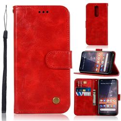 Luxury Retro Leather Wallet Case for Nokia 3.2 - Red