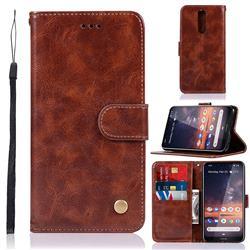 Luxury Retro Leather Wallet Case for Nokia 3.2 - Brown