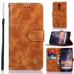 Luxury Retro Leather Wallet Case for Nokia 3.2 - Golden