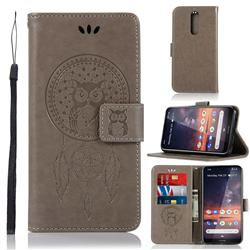 Intricate Embossing Owl Campanula Leather Wallet Case for Nokia 3.2 - Grey
