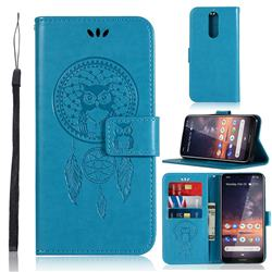 Intricate Embossing Owl Campanula Leather Wallet Case for Nokia 3.2 - Blue