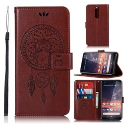 Intricate Embossing Owl Campanula Leather Wallet Case for Nokia 3.2 - Brown