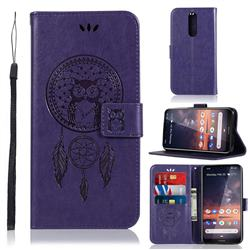 Intricate Embossing Owl Campanula Leather Wallet Case for Nokia 3.2 - Purple