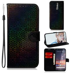 Laser Circle Shining Leather Wallet Phone Case for Nokia 3.2 - Black