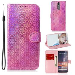Laser Circle Shining Leather Wallet Phone Case for Nokia 3.2 - Pink