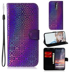 Laser Circle Shining Leather Wallet Phone Case for Nokia 3.2 - Purple
