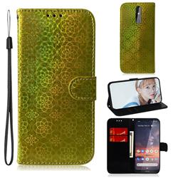 Laser Circle Shining Leather Wallet Phone Case for Nokia 3.2 - Golden