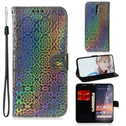 Laser Circle Shining Leather Wallet Phone Case for Nokia 3.2 - Silver