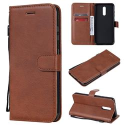 Retro Greek Classic Smooth PU Leather Wallet Phone Case for Nokia 3.2 - Brown
