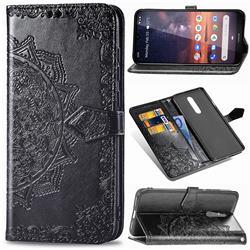 Embossing Imprint Mandala Flower Leather Wallet Case for Nokia 3.2 - Black