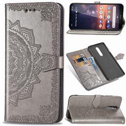 Embossing Imprint Mandala Flower Leather Wallet Case for Nokia 3.2 - Gray
