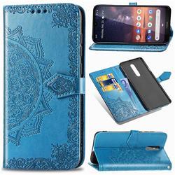 Embossing Imprint Mandala Flower Leather Wallet Case for Nokia 3.2 - Blue