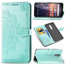 Embossing Imprint Mandala Flower Leather Wallet Case for Nokia 3.2 - Green
