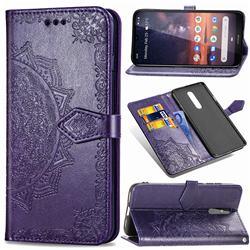 Embossing Imprint Mandala Flower Leather Wallet Case for Nokia 3.2 - Purple