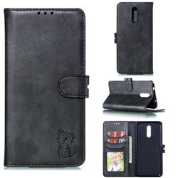 Embossing Happy Cat Leather Wallet Case for Nokia 3.2 - Black