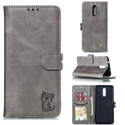 Embossing Happy Cat Leather Wallet Case for Nokia 3.2 - Gray