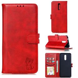 Embossing Happy Cat Leather Wallet Case for Nokia 3.2 - Red