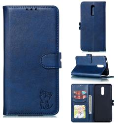 Embossing Happy Cat Leather Wallet Case for Nokia 3.2 - Blue