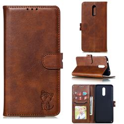 Embossing Happy Cat Leather Wallet Case for Nokia 3.2 - Brown