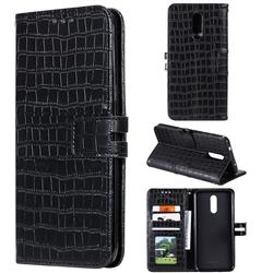 Luxury Crocodile Magnetic Leather Wallet Phone Case for Nokia 3.2 - Black