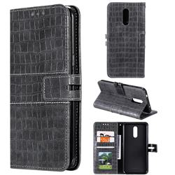 Luxury Crocodile Magnetic Leather Wallet Phone Case for Nokia 3.2 - Gray