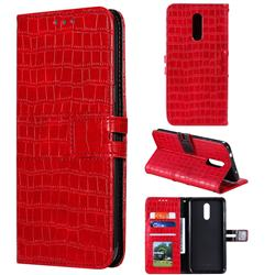 Luxury Crocodile Magnetic Leather Wallet Phone Case for Nokia 3.2 - Red