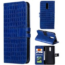 Luxury Crocodile Magnetic Leather Wallet Phone Case for Nokia 3.2 - Blue