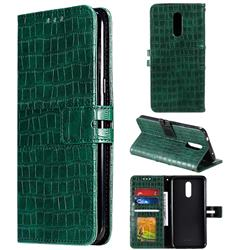 Luxury Crocodile Magnetic Leather Wallet Phone Case for Nokia 3.2 - Green