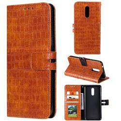 Luxury Crocodile Magnetic Leather Wallet Phone Case for Nokia 3.2 - Brown