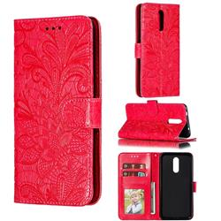 Intricate Embossing Lace Jasmine Flower Leather Wallet Case for Nokia 3.2 - Red