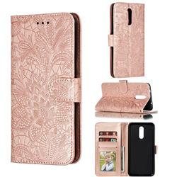 Intricate Embossing Lace Jasmine Flower Leather Wallet Case for Nokia 3.2 - Rose Gold