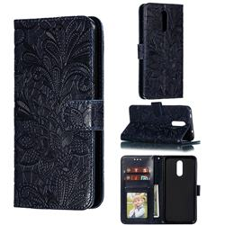 Intricate Embossing Lace Jasmine Flower Leather Wallet Case for Nokia 3.2 - Dark Blue
