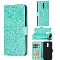 Intricate Embossing Lace Jasmine Flower Leather Wallet Case for Nokia 3.2 - Green