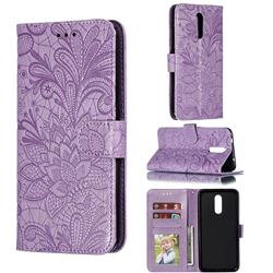 Intricate Embossing Lace Jasmine Flower Leather Wallet Case for Nokia 3.2 - Purple