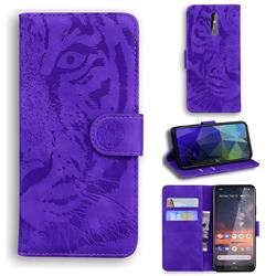 Intricate Embossing Tiger Face Leather Wallet Case for Nokia 3.2 - Purple
