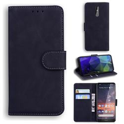 Retro Classic Skin Feel Leather Wallet Phone Case for Nokia 3.2 - Black