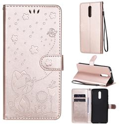Embossing Bee and Cat Leather Wallet Case for Nokia 3.2 - Rose Gold