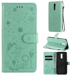 Embossing Bee and Cat Leather Wallet Case for Nokia 3.2 - Green