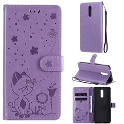 Embossing Bee and Cat Leather Wallet Case for Nokia 3.2 - Purple