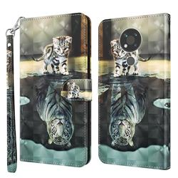 Tiger and Cat 3D Painted Leather Wallet Case for Nokia 3.4