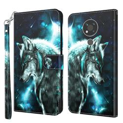 Snow Wolf 3D Painted Leather Wallet Case for Nokia 3.4