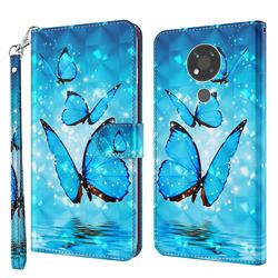 Blue Sea Butterflies 3D Painted Leather Wallet Case for Nokia 3.4