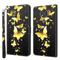 Golden Butterfly 3D Painted Leather Wallet Case for Nokia 3.4