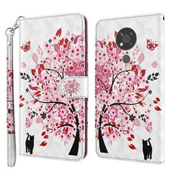 Tree and Cat 3D Painted Leather Wallet Case for Nokia 3.4